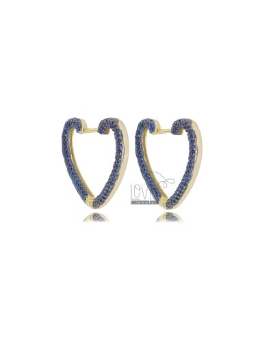 HEART EARRINGS 20X22 MM GOLDEN SILVER TIT 925 AND BLUE ZIRCONIA
