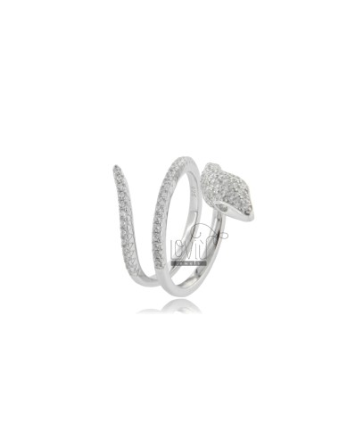 SNAKE RING IN RHODIUM-PLATED SILVER TIT 925 AND WHITE ZIRCONS MEASURE 14