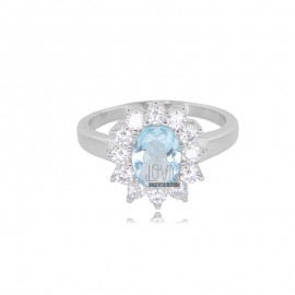 KATE RING IN RHODIUM-PLATED SILVER TIT 925 AND WHITE AND LIGHT BLUE ZIRCONS SIZE 11