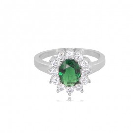KATE RING IN SILVER RHODIUM-PLATED TIT 925 AND WHITE AND GREEN ZIRCONS SIZE 11