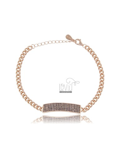 GROUMETTE BRACELET 3.5 MM WITH CENTRAL PLATE 7 MM IN ROSE SILVER TIT 925 AND BLACK ZIRCONS 16-20 CM