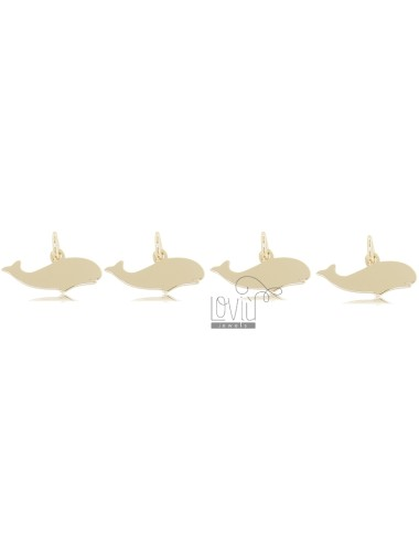 WHALE PENDANT MM 7X15 PCS 4 IN SILVER GOLDEN TIT 925
