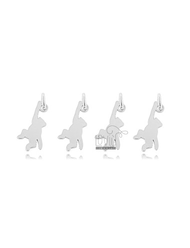 MONKEY PENDANT MM 12X7 PCS 4 SILVER RHODIUM TIT 925