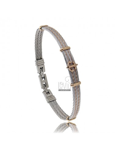 RIGID BRACELET WITH STAINLESS STEEL BICOLOR
