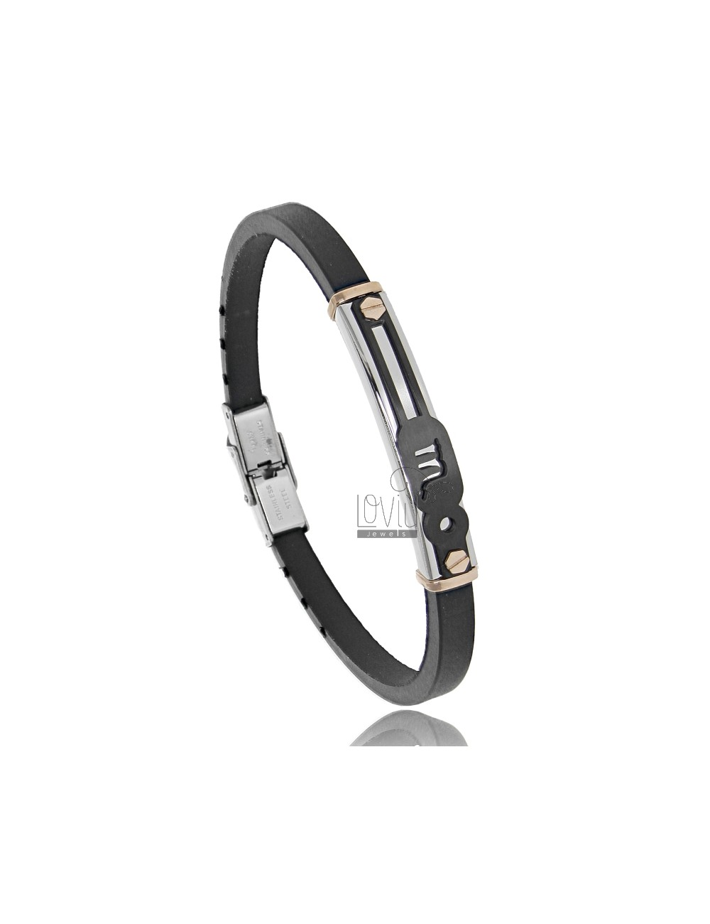 RUBBER BRACELET WITH TRICOLOR STEEL PLATE