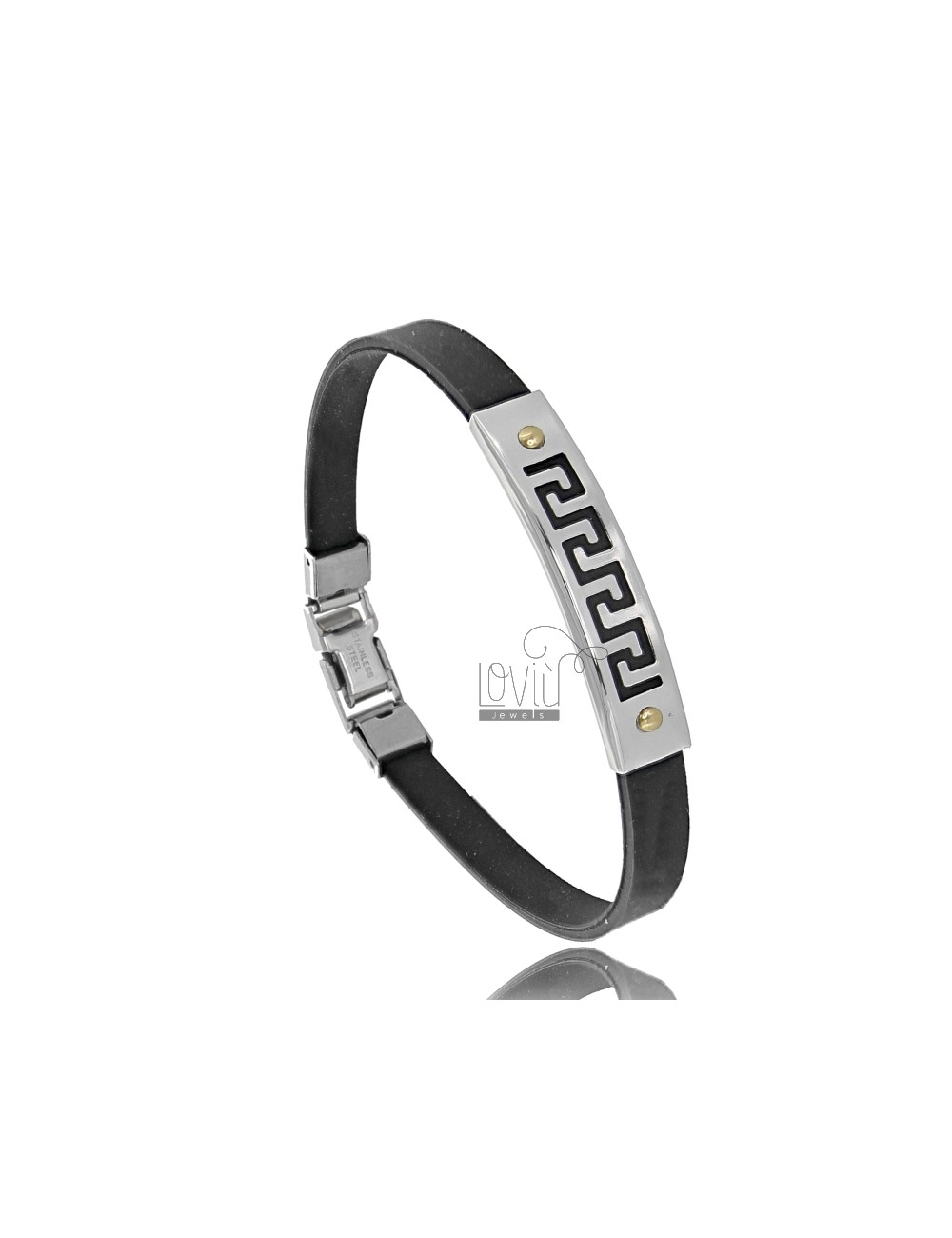RUBBER BRACELET WITH PLATE WITH GRECA IN STEEL WITH 2 BRASS POINTS