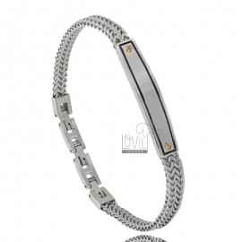 STEEL BRACELET WITH BRASS PLATE, ENAMEL AND VITINES