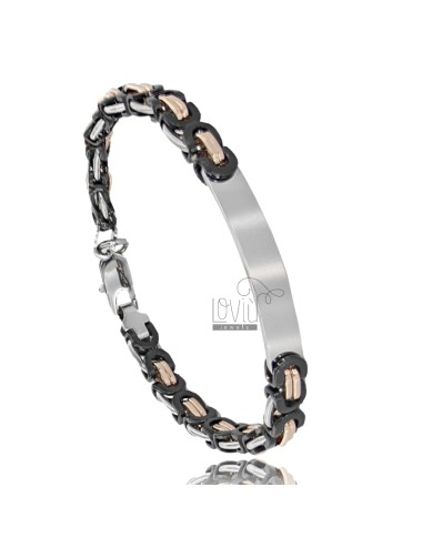 BRACELET WITH TRICOLOR STEEL PLATE