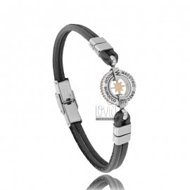BRACELET WITH ROSE OF THE WINDS IN TWO-TONE STEEL AND BLACK LEATHER