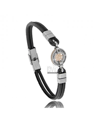 BRACELET WITH RUDDER IN TWO-TONE STEEL AND BLACK LEATHER