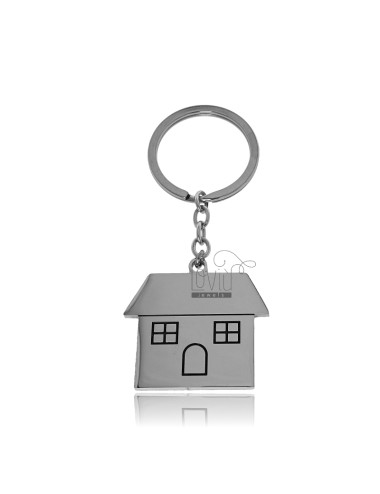 KEY RING WITH HOUSE IN STEEL AND ENAMEL