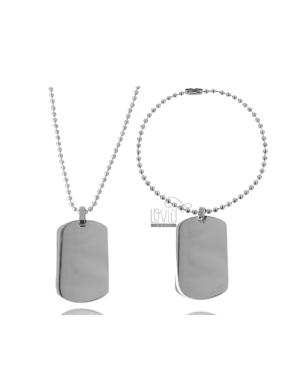DOUBLE MILITARY MEDAL IN STEEL MM 43X25 WITH BALL CHAIN MM 2 CM 60