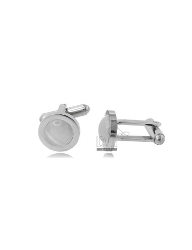 12 MM ROUND CUFFLINKS WITH STEEL MOTHER OF PEARL
