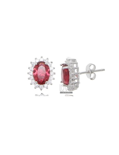 OVAL LOBE EARRINGS MM 12X10 KATE MODEL IN RHODIUM-PLATED SILVER TIT 925 ‰ AND WHITE AND RED ZIRCONIA