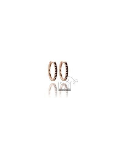 HOOP EARRINGS MM 10 IN ROSE SILVER TIT 925 ‰ AND BLACK ZIRCONS MM 1