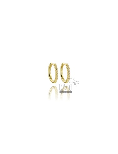 HOOP EARRINGS MM 10 IN SILVER GOLDEN TIT 925 ‰ AND WHITE ZIRCONS MM 1