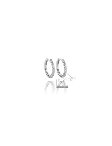 HOOP EARRINGS MM 10 IN SILVER RHODIUM TIT 925 ‰ AND WHITE ZIRCONIA MM 1