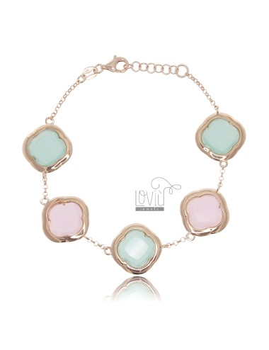 BRACELET WITH 5 FLOWERS IN ROSE SILVER 925 WITH PINK AND GREEN HYDROTHERMAL STONES TIFFANY CM 18