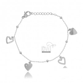 STEEL BRACELET WITH HEARTS...