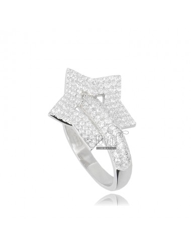 Star ring in rhodium-plated...