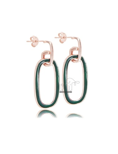 Pendant earrings with oval...