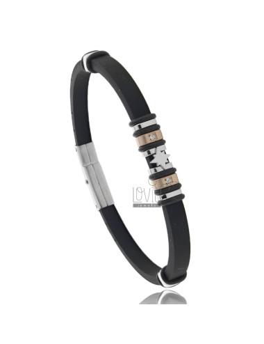 Rubber bracelet with steel...