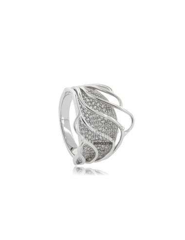 Band ring in rhodium-plated...