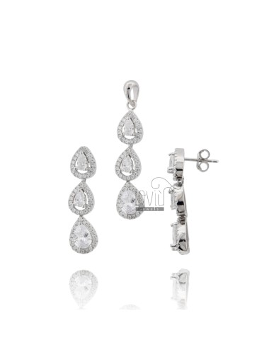 Earrings and pendant with 3...