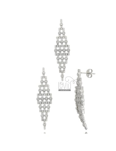 Earrings and rhodium-plated...