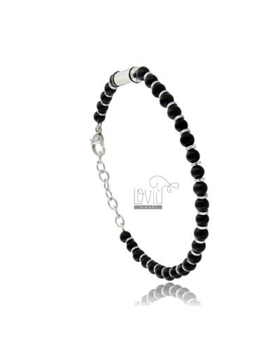 Bracelet in steel and black...