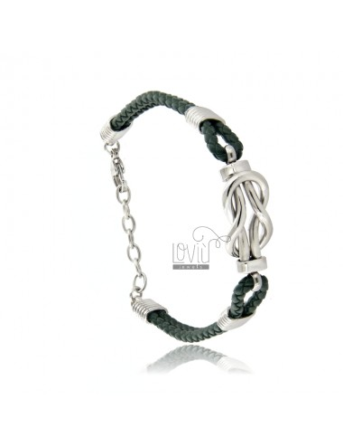 Leather bracelet with steel...