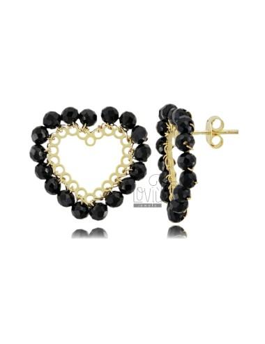 Heart earrings with stones...