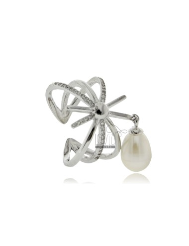 Ring with pearl mm 8x7 and...
