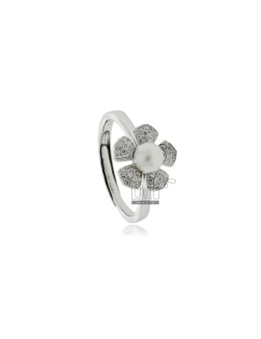 Flower ring with pearl mm 7...