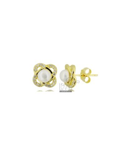 Lobe earrings with pearl mm...