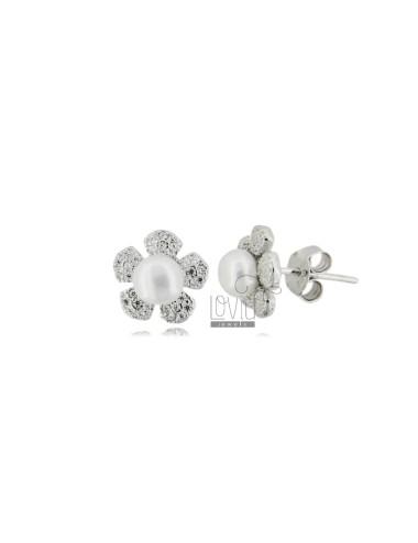 Lobe flower earrings with...