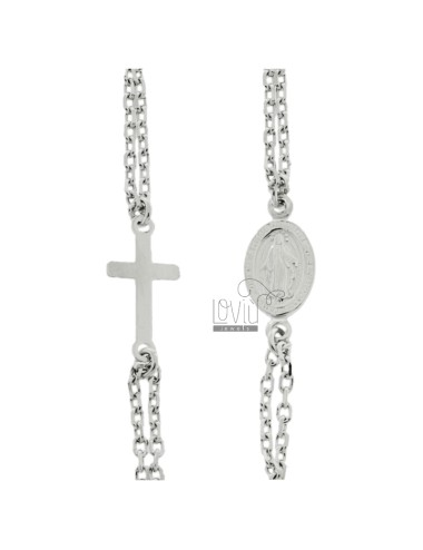 Cable rosary necklace with...
