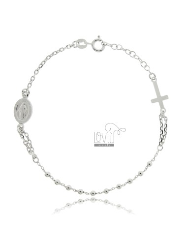 Cable rosary bracelet with...