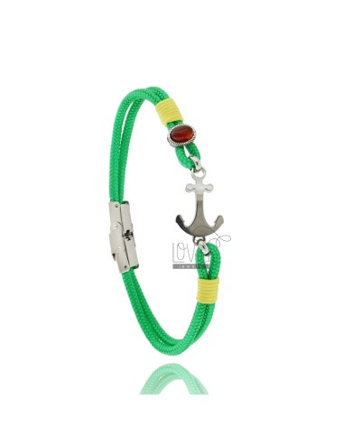 Green rope bracelet with...