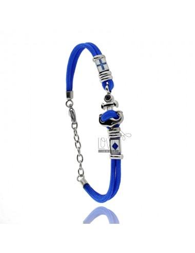 Pulsera cuerda azul con...