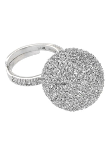 RING BALL 20 MM IN RHODIUM AG 925 TIT AND ZIRCONIA WHITE SIZE ADJUSTABLE