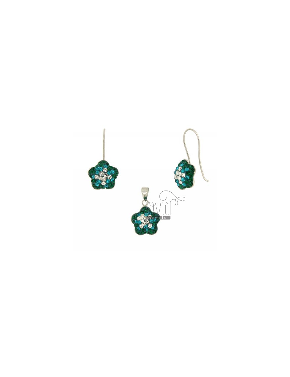 Earrings and Pendant FLOWER IN AG TIT 925 AND CRYSTAL