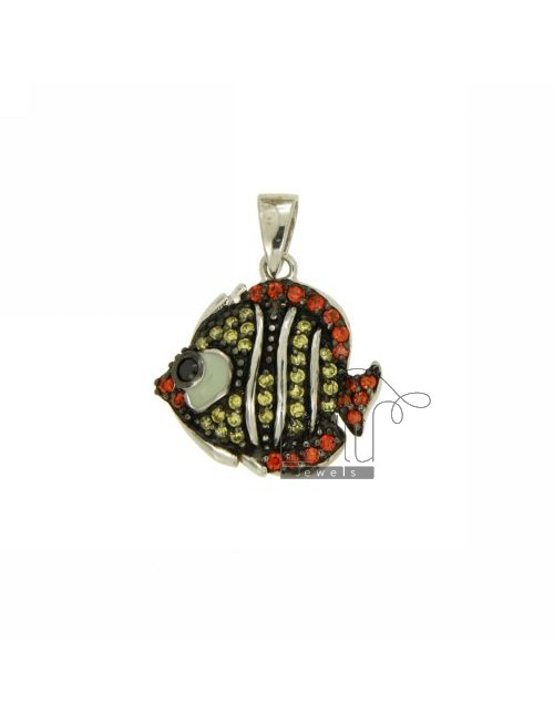 TROPICAL FISH PENDANT 20X20 MM IN AG TIT 925 ‰ AND ZIRCONIA