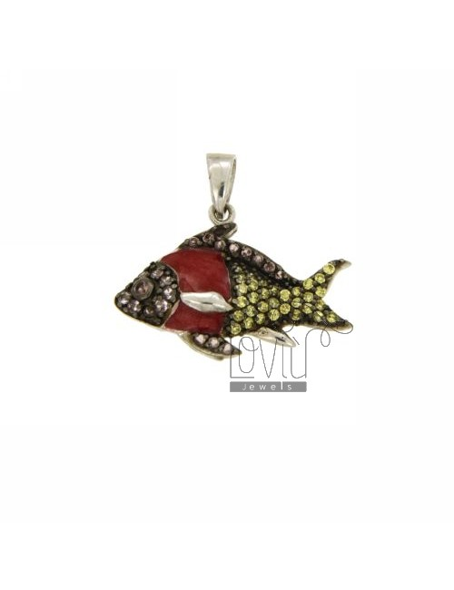FISH PENDANT 18X26 MM IN AG PLATED RHODIUM AND RUTHENIUM TIT 925 ‰, ZIRCONIA AND POLISH