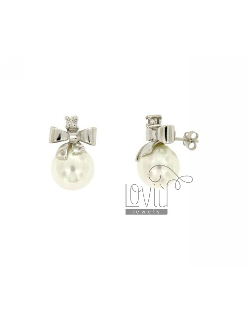 EARRINGS PEARL MM 12 BOW AND SILVER ZIRCONE TIT 925 ‰