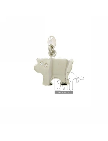 CHARM COW 18x19 MM IN AG TIT 925 ‰ AND ZIRCONIA