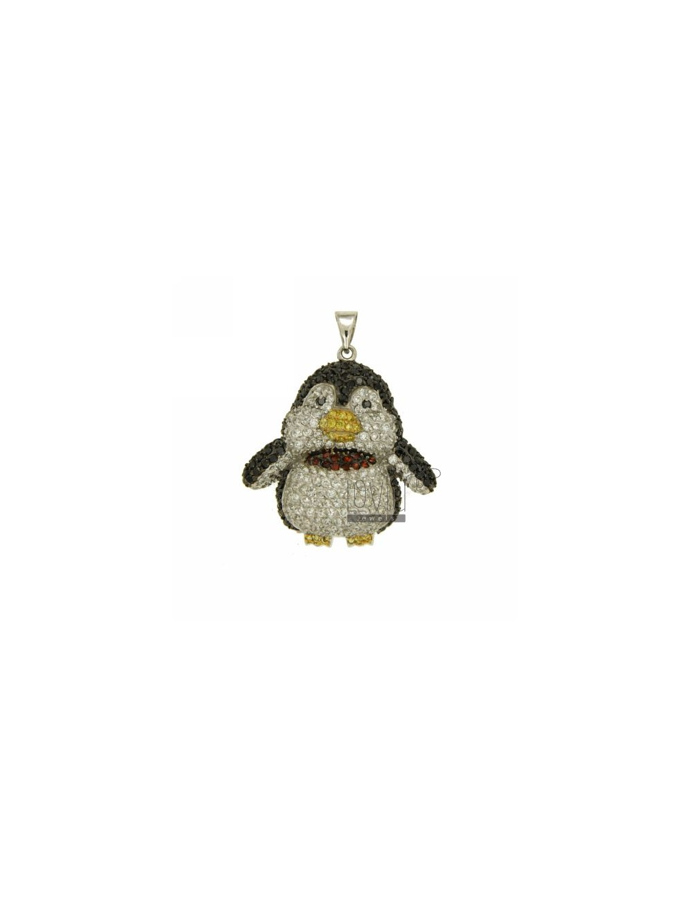 PENDANT PENGUIN 35X33 MM IN AG TIT 925 ‰ AND ZIRCONIA