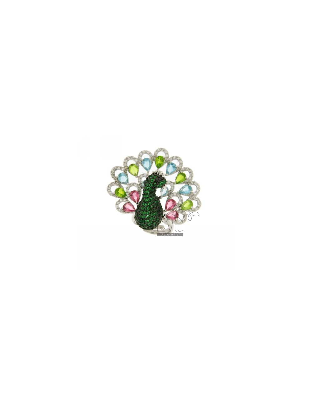 RING IN PEACOCK AG RHODIUM 925 ‰ TIT AND ZIRCONIA VARIOUS COLORS SIZE ADJUSTABLE