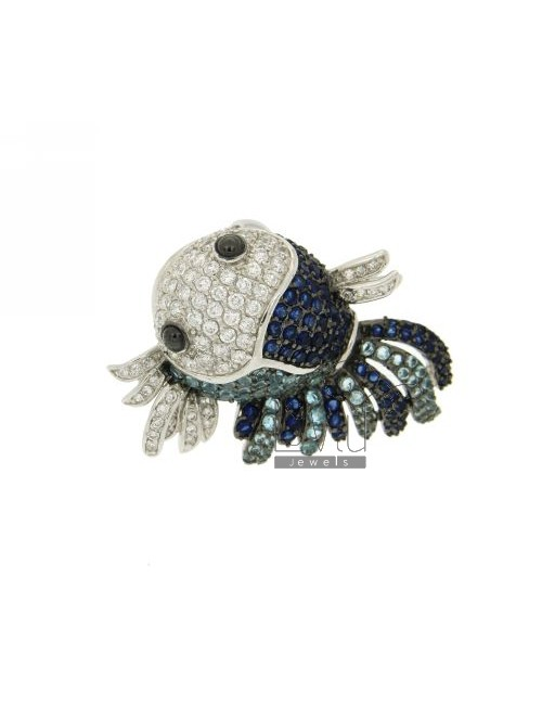 AG TROPICAL FISH IN THE RING RHODIUM 925 ‰ TIT AND ZIRCONIA VARIOUS COLORS SIZE ADJUSTABLE