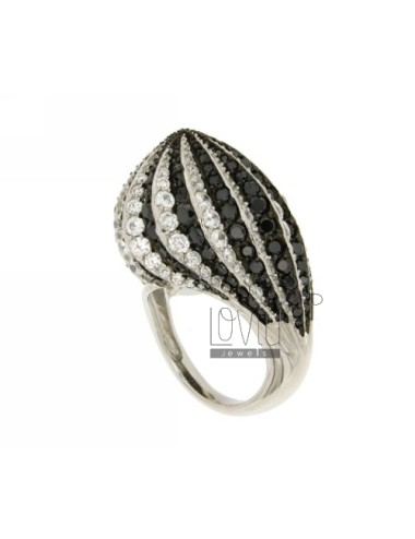 POINTED IN DOME RING RHODIUM AG TIT 925 ‰ E ZIRCONIBIANCHI AND BLACKS SIZE 18